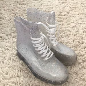 Clear glitter lace up boots